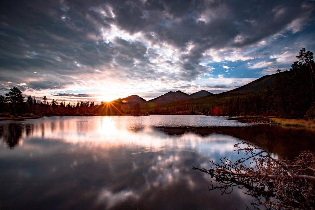 sprague lake sunrise rocky mountain national park colorado
