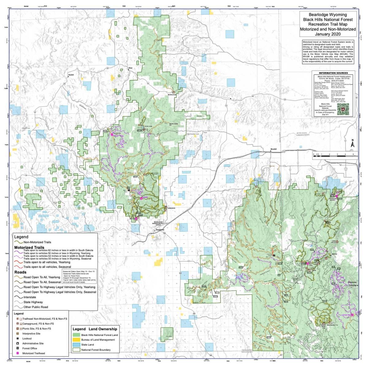 bear lodge ranger district map