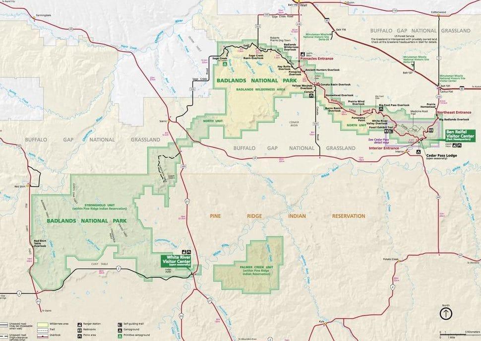 Badlands Park Map
