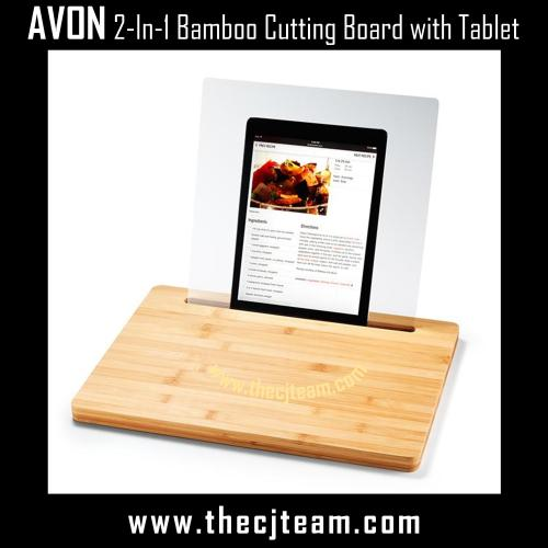 2-In-1 Bamboo Cutting Board with Tablet Holder 2x