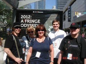 Left to right: @birdandbear, @runpaceyrun, @brownbettyhigh, Jamie and @aimeeinchains The Fringe Event, Vancouver