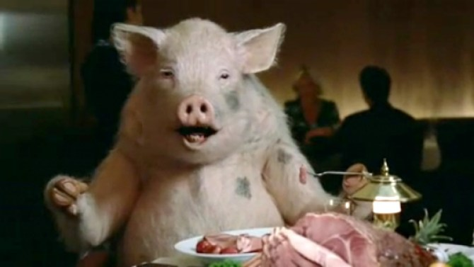 a pig on a date