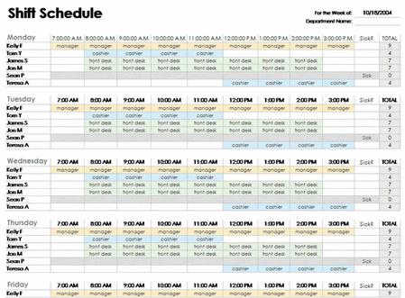 Excel Employee Schedule Template Employee