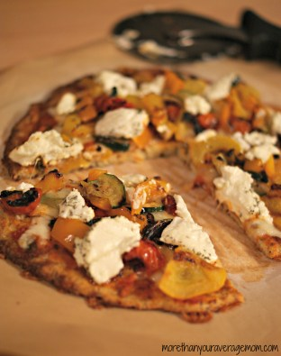 Gluten Free Roasted Veggie and Goat Cheese Pizza
