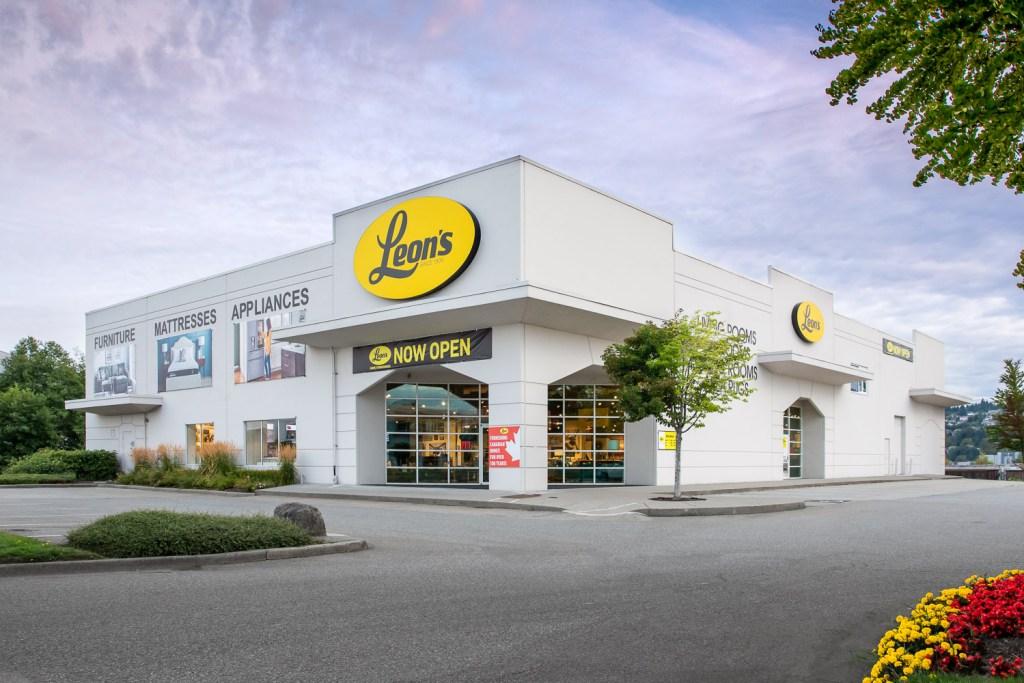 Exterior photo of Leon's Furniture Store in Coquitlam, BC