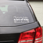 Photo of SUV with vinyl car decal attached to the rear window