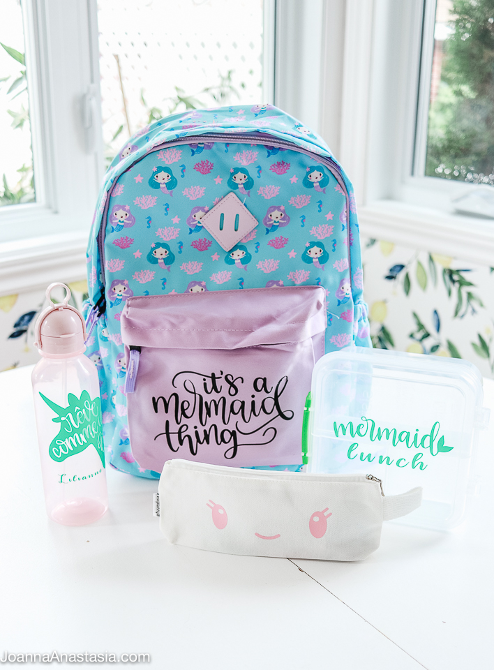 Cricut personalized backpack and other school supplies