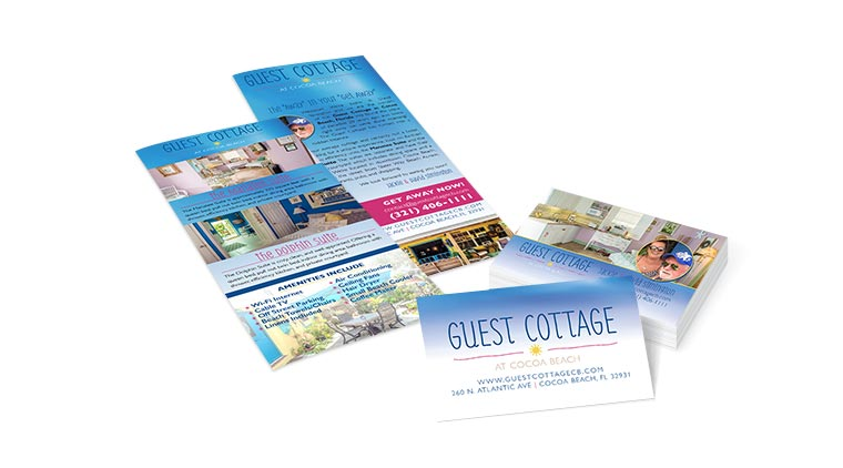 Guest Cottage Cocoa Beach, FL Brochure and Business Cards Marketing Collateral