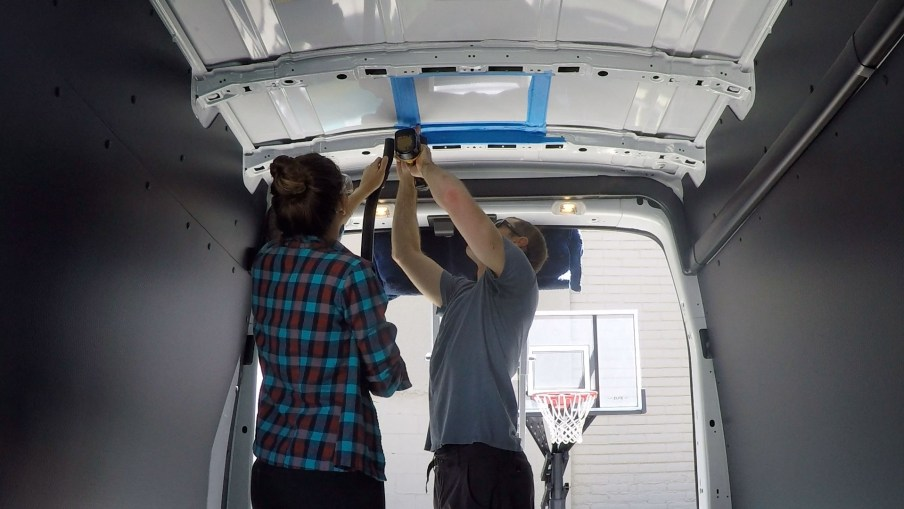 Drilling into the van roof