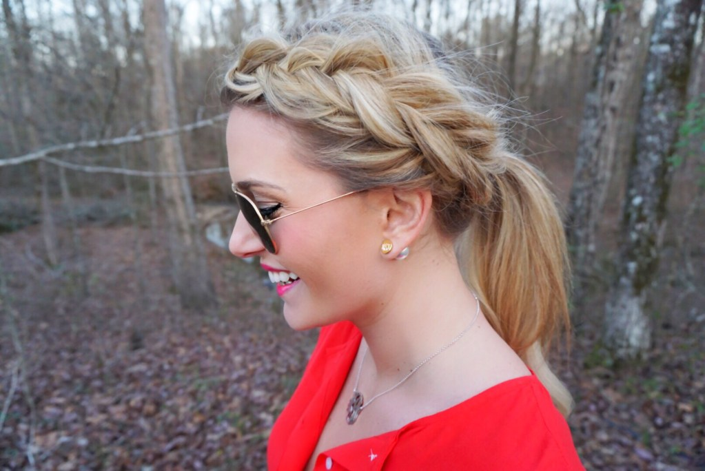 Marley Lilly Monogrammed Earrings + Dutch Fishtail Pony