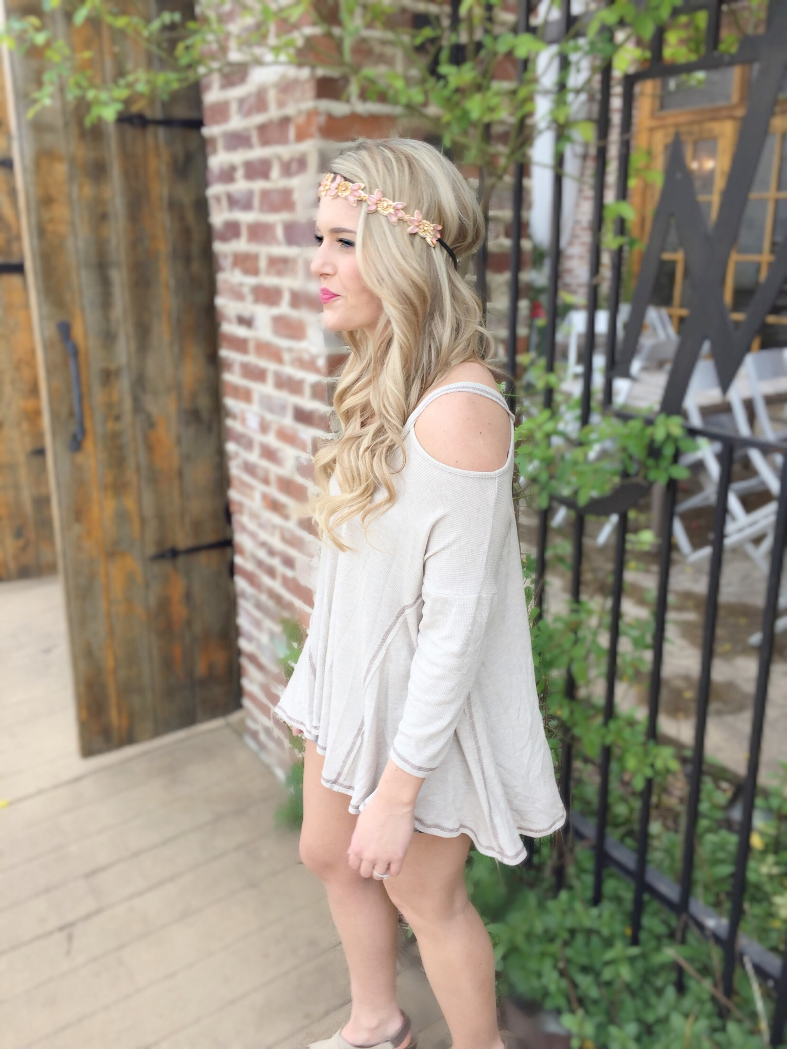 cold shoulder top with headbands of hope headband