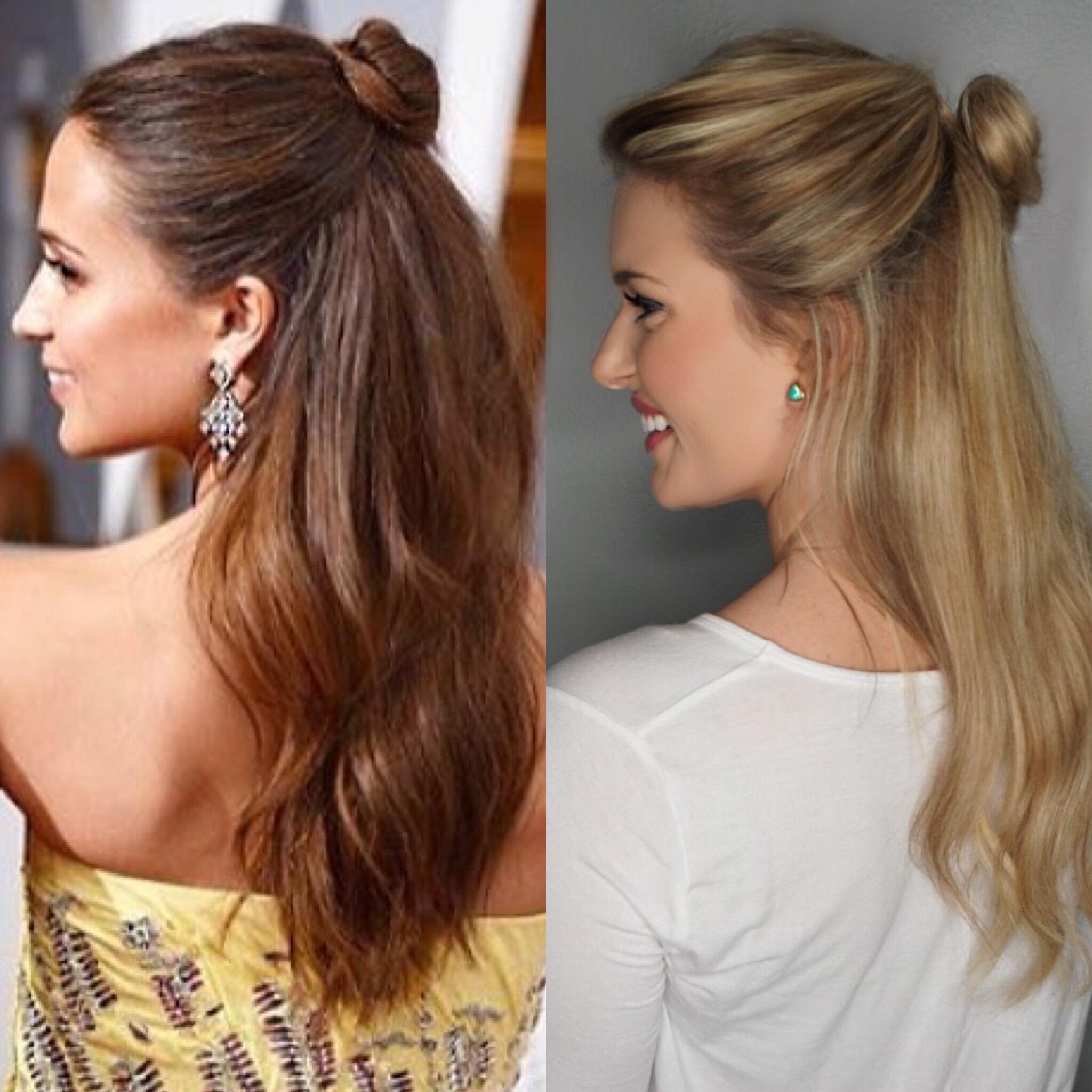Alicia Vikander Half Bun Hair Tutorial Oscars 2016