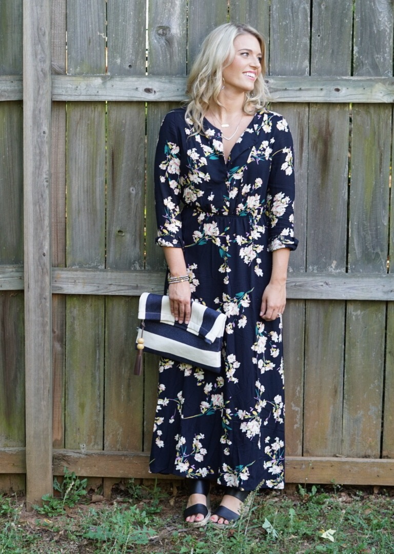 Long Sleeve Floral Maxi She In: Perfect Summer Date Night Dress