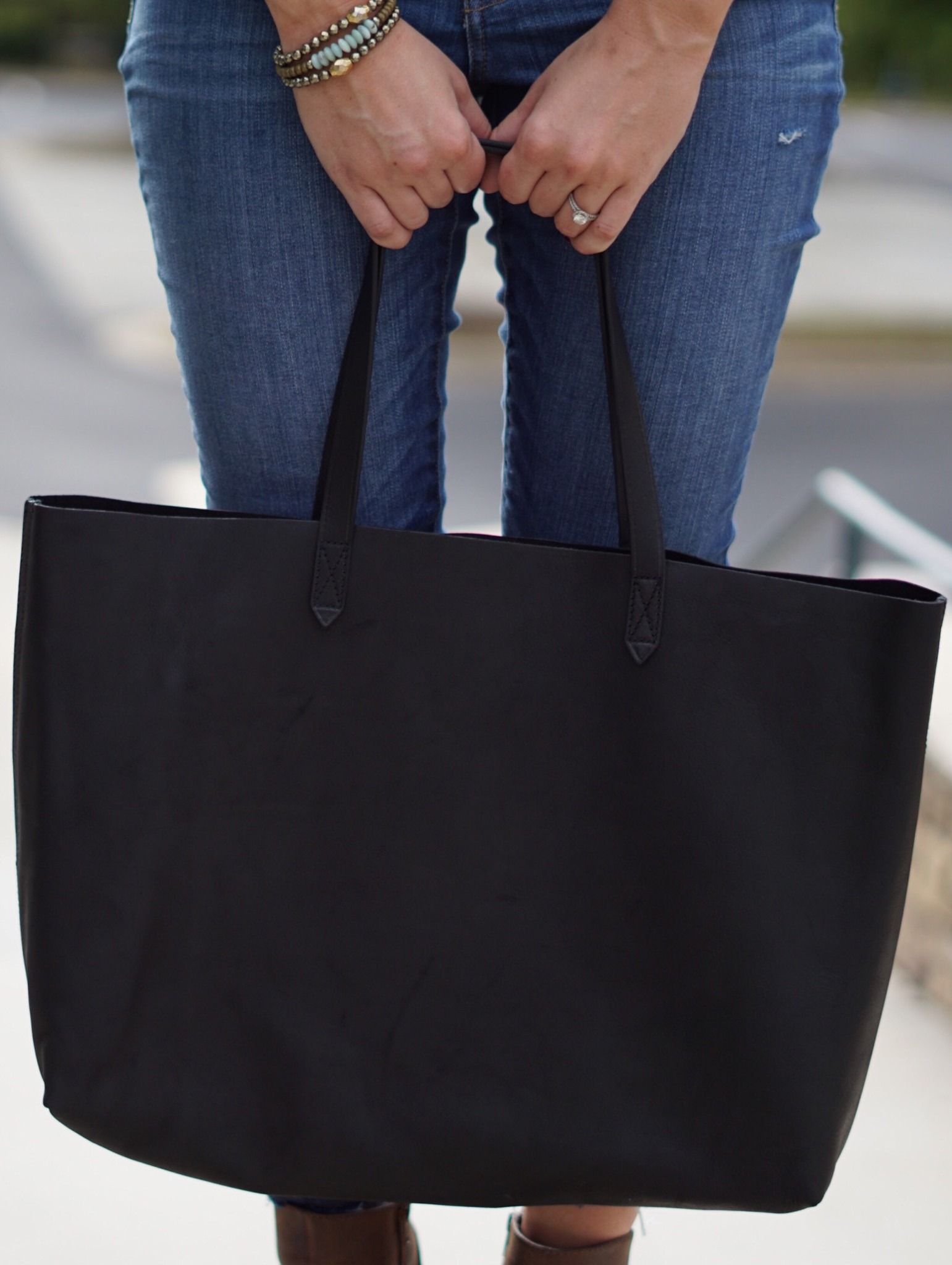 madewell jeans and east-west tote
