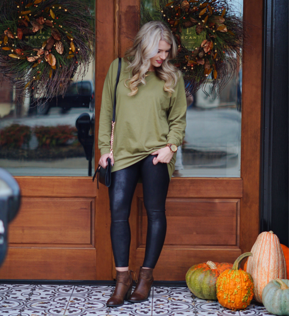 Olive Slouchy + Leather Leggings