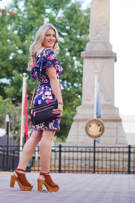 floral off the shoulder dress shein