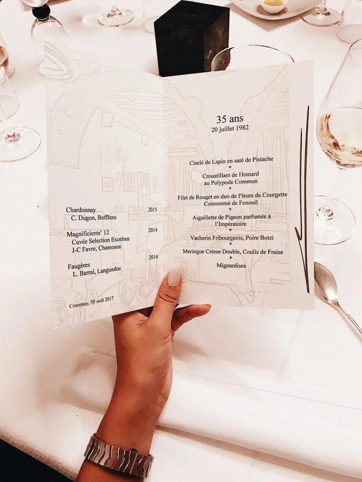 Le menu des 35 ans