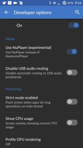 CyanogenMod developer settings screenshot