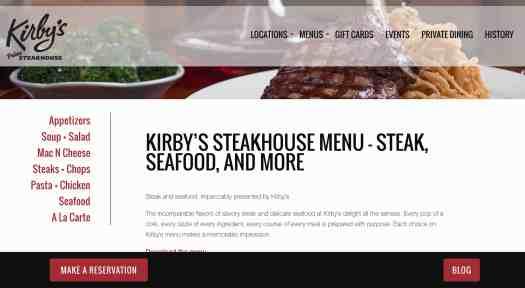 screenshot of kirbyssteakhouse.com/menu