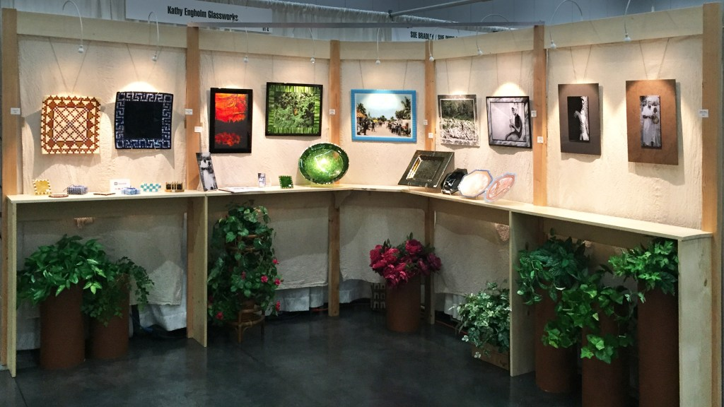 photo of my art show booth, designed to look like an art gallery