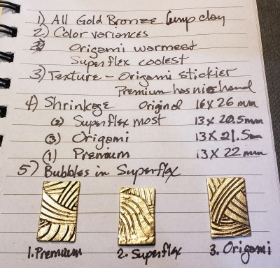 comparison of fired aussie metal gold bronze test tiles