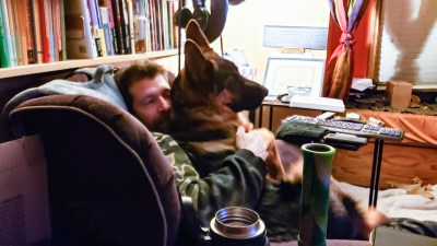 Grizz thinks he's still a lap-puppy