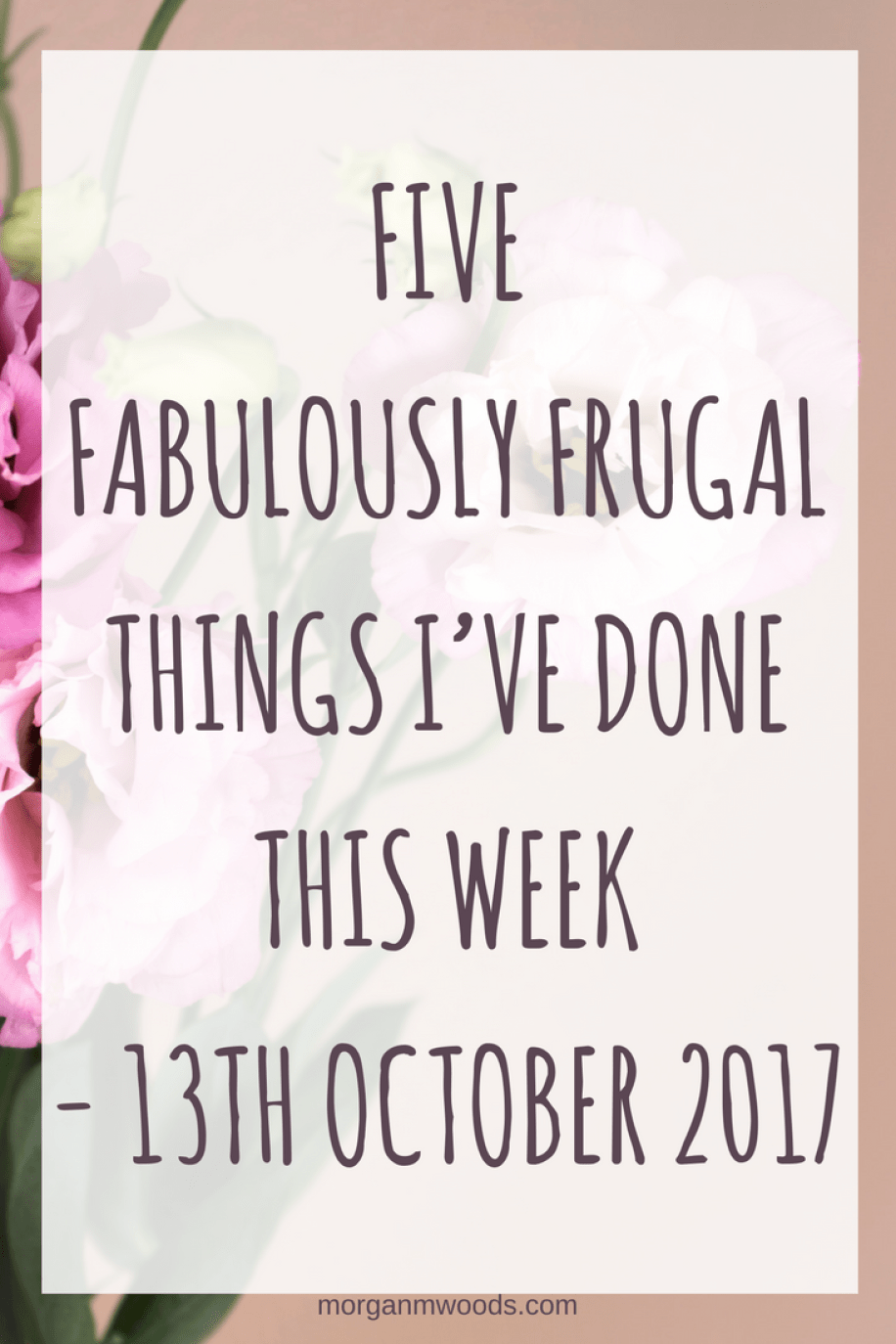 Five Fabulously Frugal Things I've Done This Week - 13th October 2017
