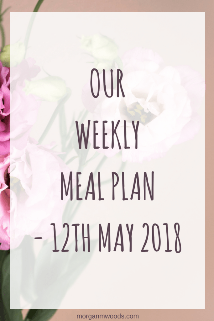 Weekly meal plan – 12th May 2018