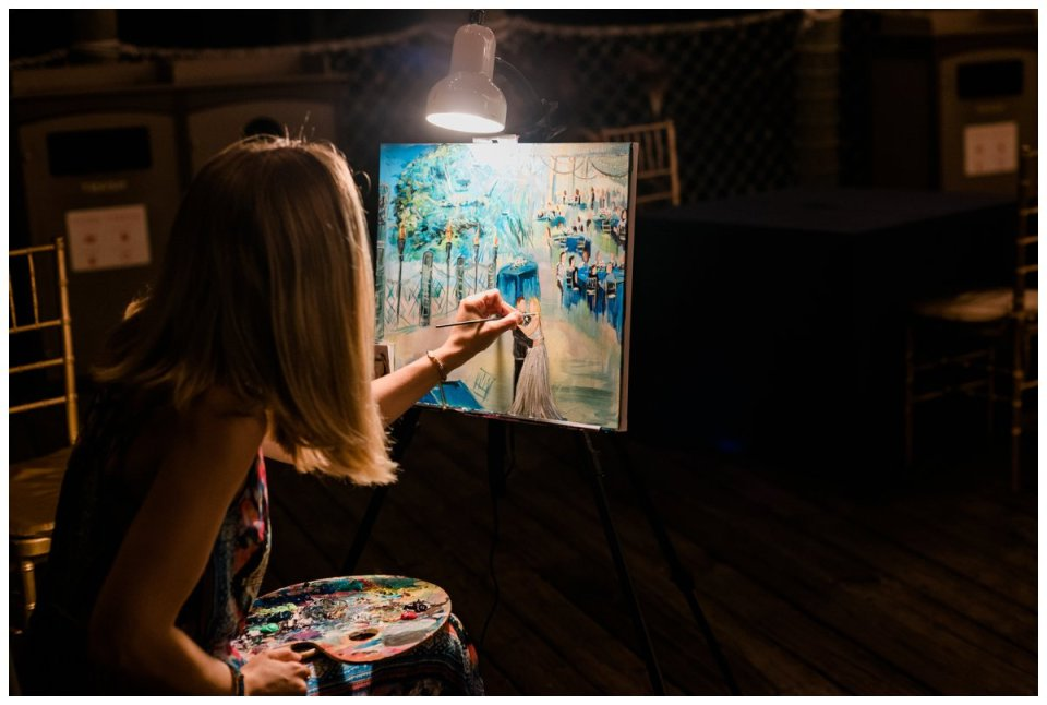 live wedding painter at palm beach zoo wedding reception