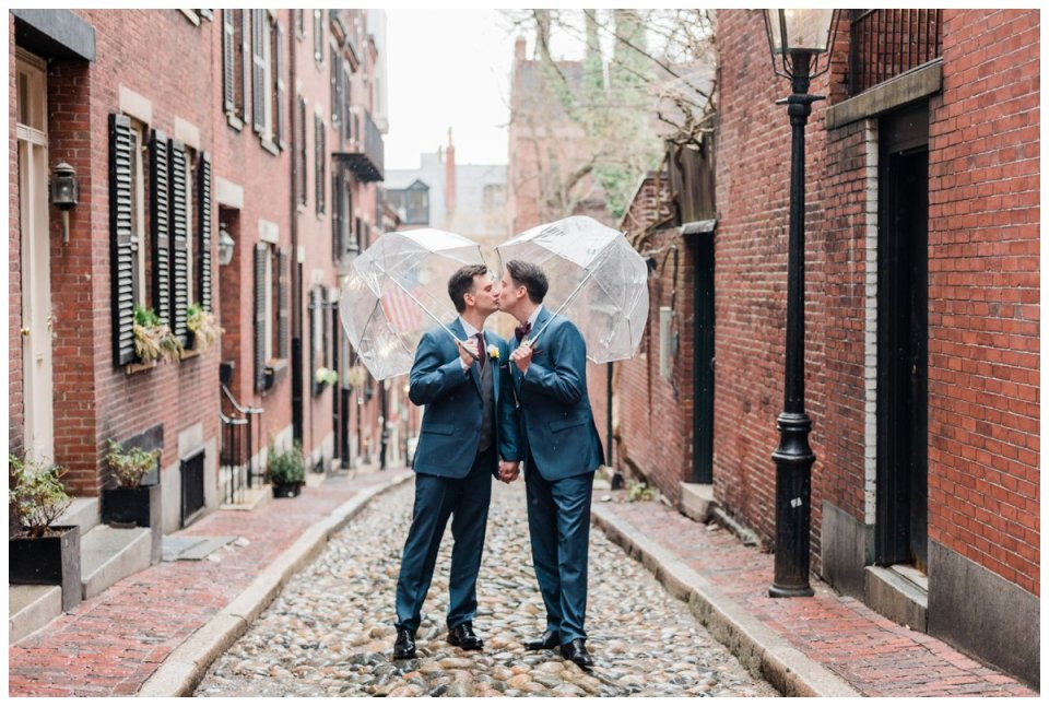 rainy wedding day portraits in beacon hill acorn street