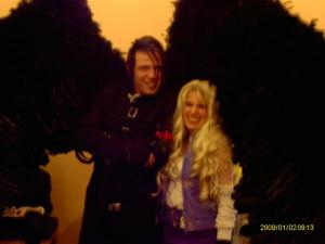Me with Mr. Dark!  His wings really moved and it was funny how he flirted with Derrick! o,o
