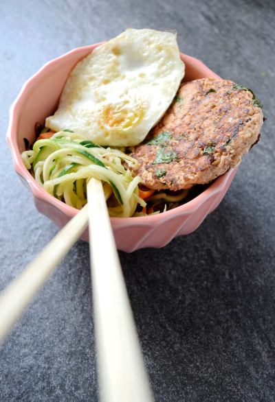 Easy Thai Salmon Burgers over Zoodles