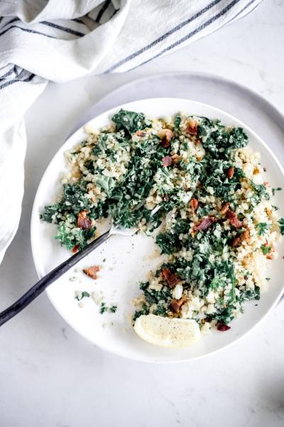 Spring Bacon Kale Risotto