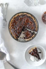 A dense, fudgy gluten-free brownie pie with a hint of espresso and a chocolate ganache drizzle--the best dairy-free chocolate dessert I've ever had!