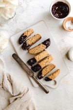 Buttery and crunchy tahini biscotti made with cassava flour, coconut sugar, and tahini and dipped in a dairy-free chocolate glaze. The most delicious gluten-free biscotti your coffee will ever meet!