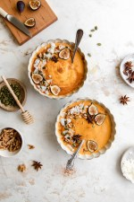 Get a healthy, protein-packed start to your day with this Gut-Friendly Pumpkin Collagen Smoothie Bowl. The perfect dairy-free collagen smoothie for a fall morning.