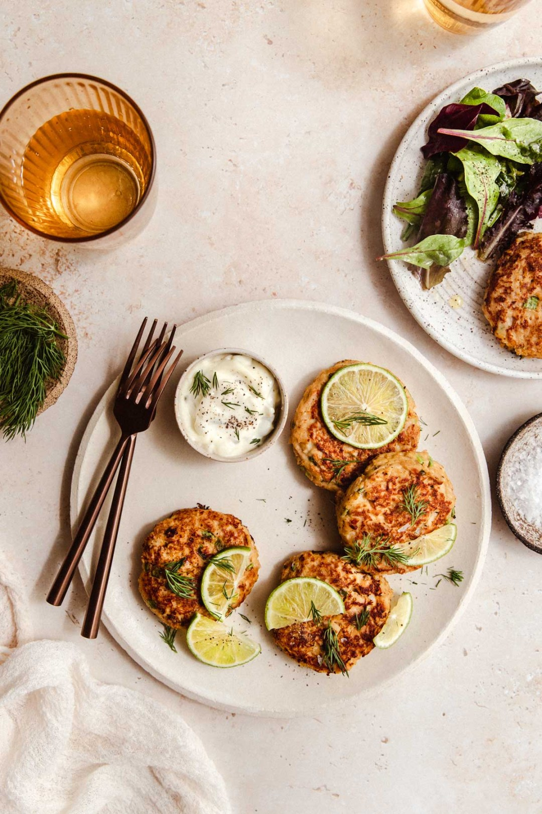 These quick and easy (and gluten free!) tuna patties are the perfect solution for easy weekday lunches that you can make ahead of time. The zesty dill pickle aioli helps keep them exciting and adds a wonderfully unexpected flavor twist.