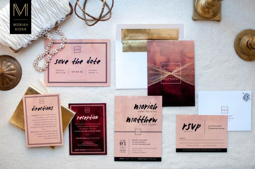 Custom Designed Blush And Burgundy Wedding Invitation Suite With Black Gold Accents Elegant
