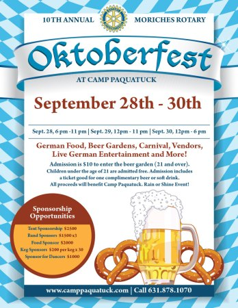 Moriches Rotary Club 10th Annual Oktoberfest Celebration @ Camp Pa-Qua-Tuck | Center Moriches | New York | United States