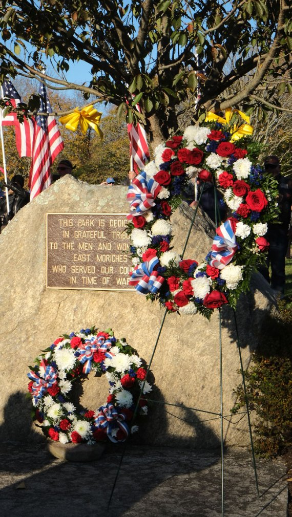 wreath at Soldiers & Sailors Memorial Park - 2018 East Moriches Veterans Day Parade