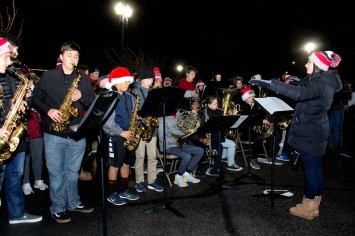 CM high school band at 2018 Moriches Chamber tree lighting