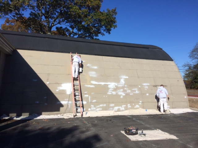 painting the brewery exterior