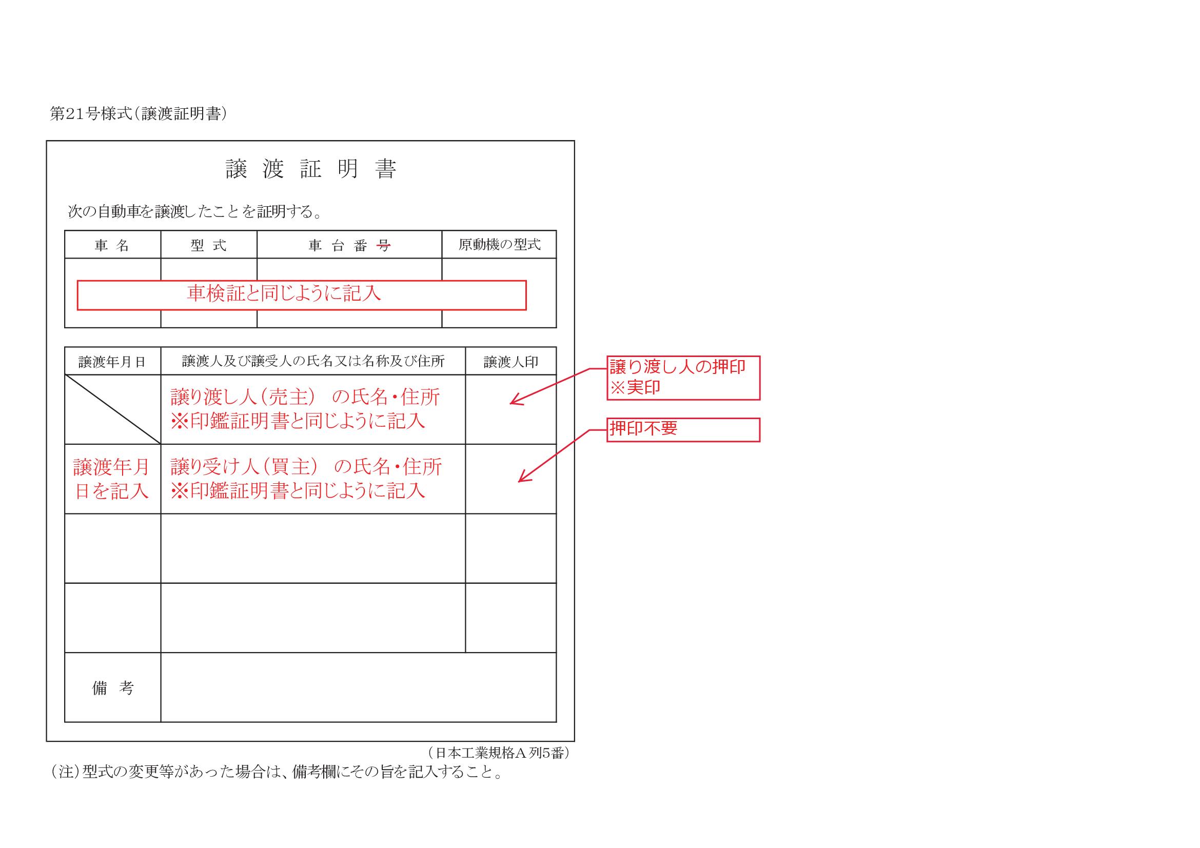 書き方 譲渡 証明 書
