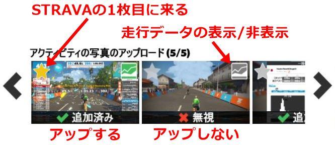 スクリーンショットのアップロード ライド終了 ZWIFT(ズイフト)「メニュー」画面の詳細説明