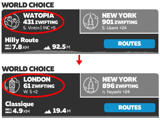 コースを任意に入れ替える裏技 ZWIFT(ズイフト) ルートまとめ、コース裏/豆知識、名所一覧(ワトピア/ロンドン/リッチモンド)