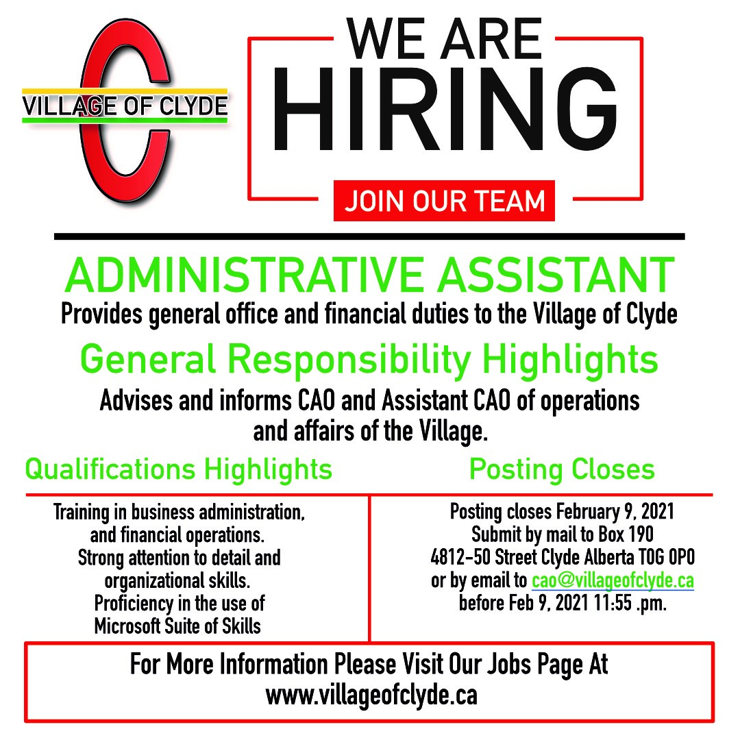 Admin Assistant Job Posting – Closes Feb 9, 2021
