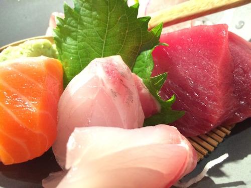 Akiko's Restaurant - sake (New Zealand king salmon), maguru (big eye tuna) & I think it was suzuki (sea bass)