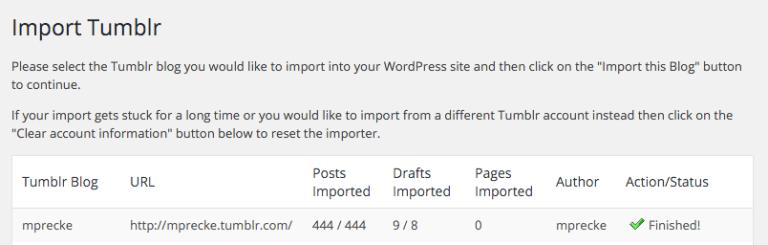 tumblr importer - import tumblr posts to wordpress