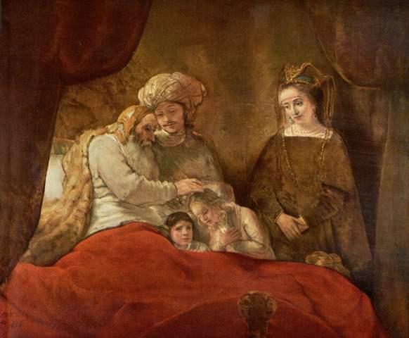 Rembrandt_Jakob zegent Efraim en Manasse
