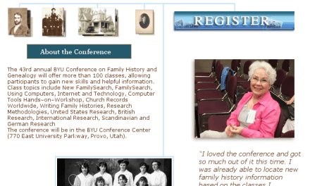 Family History Conference at BYU the End of July